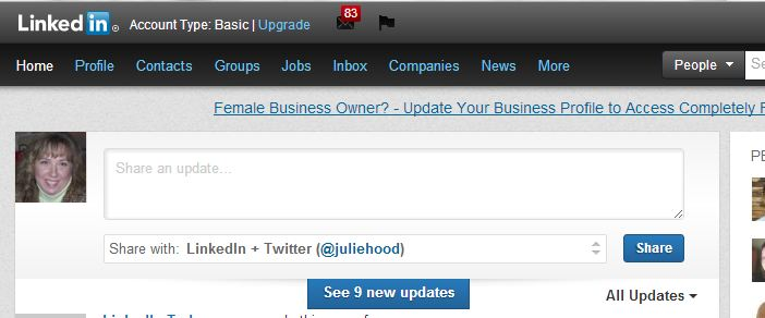 The update box on LinkedIn